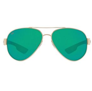 Costa Del Mar South Point Gold Frame - Green Mirror 580 Glass Lens - Polarized Sunglasses Front View