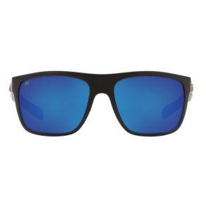 Costa Del Mar Broadbill Matte Black Frame - Blue Mirror 580 Glass Lens - Polarized Sunglasses Front View