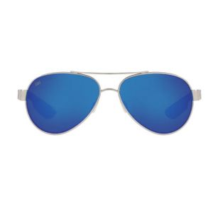 Costa Del Mar Ocearch Loreto Ocearch Brushed Silver Frame - Blue Mirror 580 Glass Lens - Polarized Sunglasses Front View