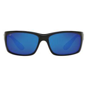 Costa Del Mar Mens Jose Shiny Black Frame - Blue Mirror 580 Glass Lens - Polarized Sunglasses Front View