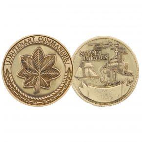 Coast Guard Challenge Coin - Lieutenant Commander - Gold Front View