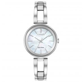 Citizen Womens Axiom Eco-Drive Watch - Silver-Tone Stainless Steel Bangle Front View