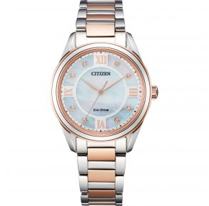 Citizen Womens Arezzo Eco-Drive Watch - Silver-Tone Stainless Steel Bracelet Front View