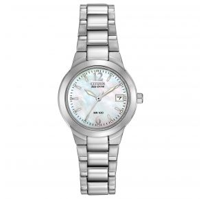Citizen Womens Chandler Eco-Drive Watch - Silver-Tone Stainless Steel Bracelet Front View