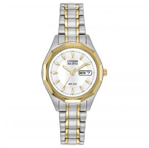 Citizen Womens Corso Eco-Drive Watch - Silver-Tone Stainless Steel Bracelet Front View