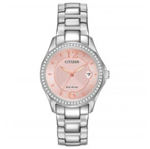 Citizen Womens Silhouette Crystal Eco-Drive Watch - Silver-Tone Stainless Steel Bracelet Front View