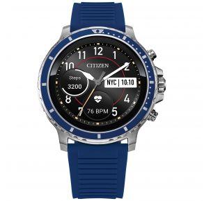 Citizen Mens CZ Smart Smartwatch - Blue Silicone Strap Front View