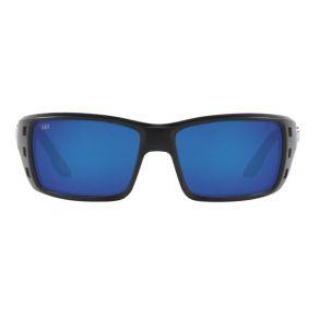 Costa Del Mar Mens Permit Matte Black Frame - Blue Mirror 580 Glass Lens - Polarized Sunglasses Front View