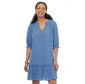 Democracy Womens Bonnet Short Sleeve Half Placket Embroidered Woven Dress Front View