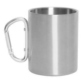 Rothco Insulated Portable Camping Mug With Carabiner Handle – 15 oz. - Stainless Steel Front View