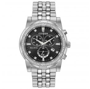 Citizen Mens Crystal Eco-Drive Watch - Silver-Tone Stainless Steel Bracelet Front View