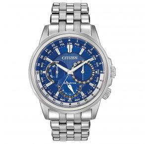 Citizen Mens Calendrier Eco-Drive Watch - Silver-Tone Stainless Steel Bracelet Front View