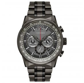 Citizen Mens Nighthawk Eco-Drive Watch - Gray Stainless Steel Bracelet Front View