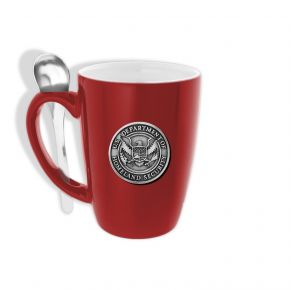 DHS Sparta Pewter Ceramic Mug with Spoon - Red Front View