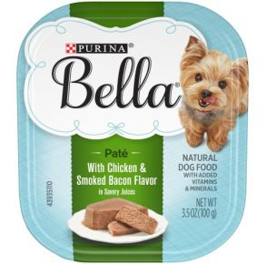Purina Bella Paté Wet Small Dog Food With Chicken & Smoked Bacon In Savory Juices - 3.5 oz. Front View