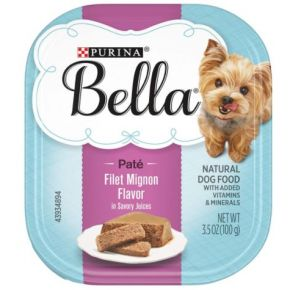 Purina Bella Paté Wet Small Dog Food Filet Mignon Flavor In Savory Juices - 3.5 oz. Front View