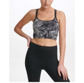 DKNY Womens Sport Pixel Palm Print Bra with Built In Bra Front View
