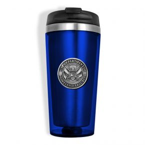 DHS Sparta Pewter Travel Mug - Blue Front View
