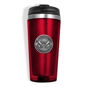DHS Sparta Pewter Travel Mug - Red Front View