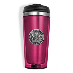 DHS Sparta Pewter Travel Mug - Pink Front View