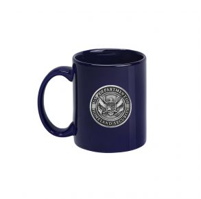 DHS Sparta Pewter Coffee Mug - Blue Front View