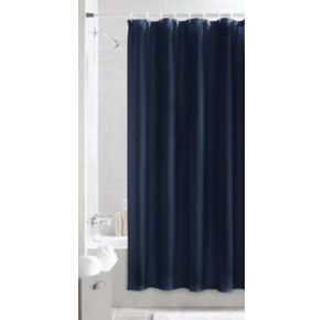 Maytex Textured Waffle Fabric Shower Curtain - Navy Front View