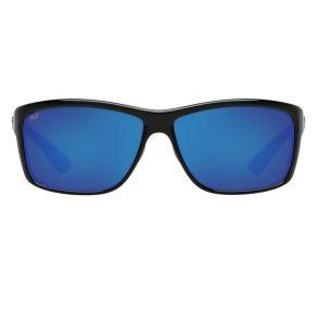 Costa Del Mar Mens Mag Bay Shiny Black Frame - Blue Mirror 580 Plastic Lens - Polarized Sunglasses Front View