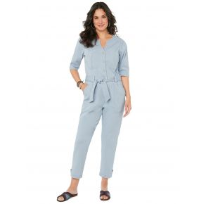 Democracy Womens 3/4 Puff Sleeve Jumpsuit Front View