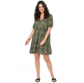 Democracy Womens Short Sleeve Floral Camo Print Babydoll Pocket Dress Front View