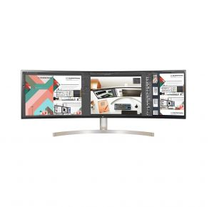 """LG 49"""" Monitor 32:9 Curved UltraWide DQHD IPS HDR10 - Black Front View"""