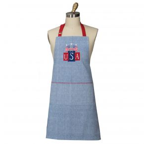 KAY DEE DESIGNS Chef Apron - USA Flags Patriotic Embroidered Applique Cotton Front View