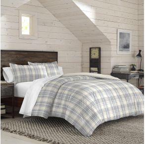 IZOD Port Clinton Comforter Set - Full/Queen - Gray/Tan Lifestyle Angle View