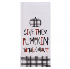 KAY DEE DESIGNS Kitchen Towel - Give Them Pumpkin To Talk About Front View