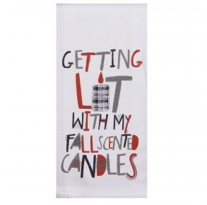 KAY DEE DESIGNS Kitchen Towel - Getting Lit With My Fall Scented Candles Front View