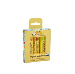 The Naked Bee Organic Lip Balm Gift Set - 3 Pack Front Packaging View