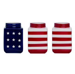 Transpac Square Patriotic Containers Front View