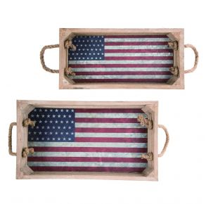 Transpac Wood Flag Tray Front View