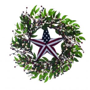 Transpac Floral Wreath With Star Accent Front View