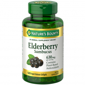 NATURE'S BOUNTY Elderberry Softgels 630MG - 120 Count Front View