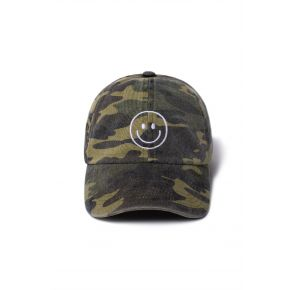 David and Young Smiley Baseball Cap - Olive Camo Front View