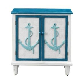 Coast to Coast Accents Two Door Cabinet - Anchor's Away - Blue and White Front View