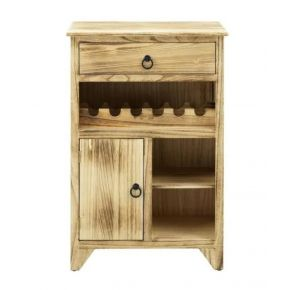 Coast to Coast Accents One Door One Drawer Wine Cabinet - Boardwalk Brown Front View