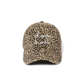 David and Young Womens Dog Mom Baseball Cap - Leopard front angle view
