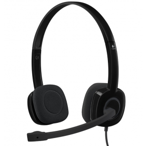 Logitech  H151 On-Ear Stereo Headset - Black Front View