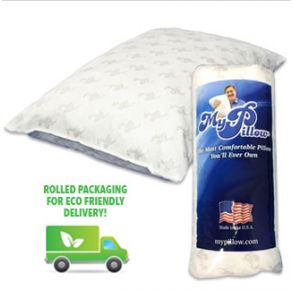 """MyPillow Classic Pillow Roll - Standard Size/Firm Fill Pillow and Packaging with """"Rolled Packaging For Eco Friendly Delivery"""" Written Above Delivery Truck View."""