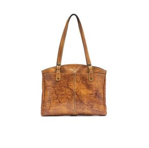 Patricia Nash Poppy Map Print Leather Satchel Handbag - Riot Rust/Gold Front View