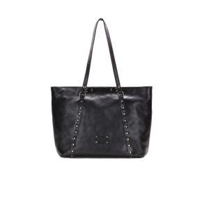Patricia Nash Benvenuto Convertible Heritage Leather Tote Handbag - Black Front View