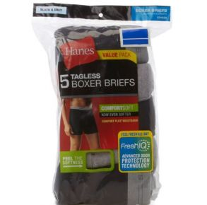 Hanes Mens Boxer Briefs - FreshIQ Comfort Flex Waistband - 5 Pack  Front of Pack View