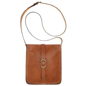 Patricia Nash Pouch Smooth Leather Crossbody Handbag - Tan Front View