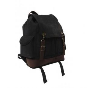 Rothco Vintage Expedition Rucksack - Black Right Side Slightly Angle View